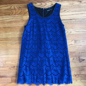 Lace Overlay Dress Royal Blue & Faux Leather
